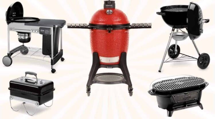 5 best charcoal grills isolated on a beige background