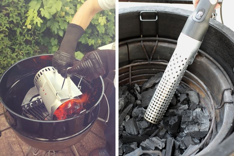 Charcoal chimney and Looftlighter in use side by side lighting charcoal