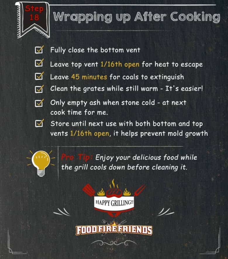 Text image with instructions on how to close down the grill when cooking is finished.