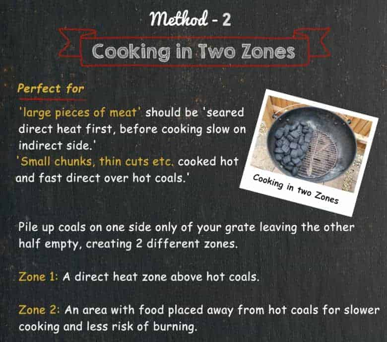 Text image detailing two zone cooking