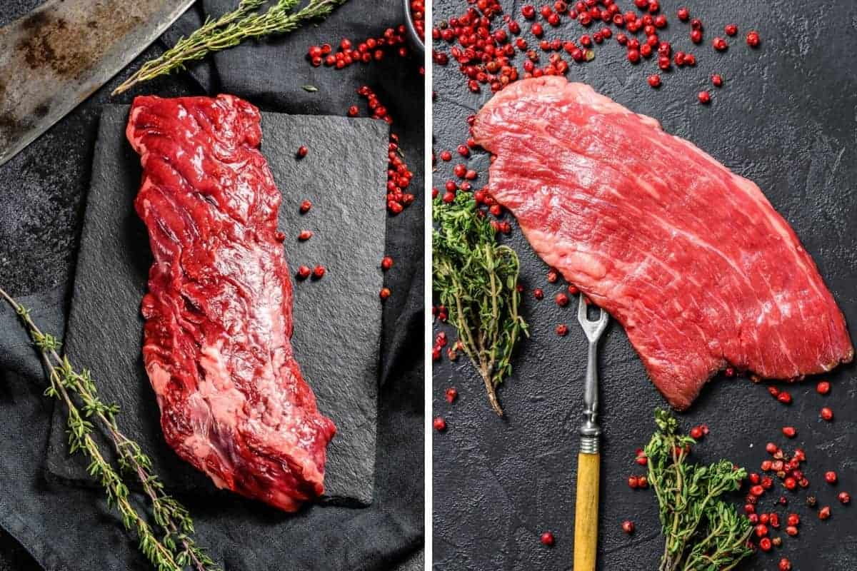 skirt steak vs flank steak, in two photos side by side, both on a slate board with herbs and spices