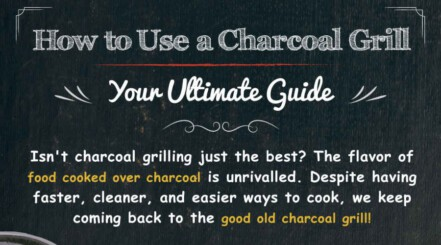 The top portion of a how to use a charcoal grill infographic