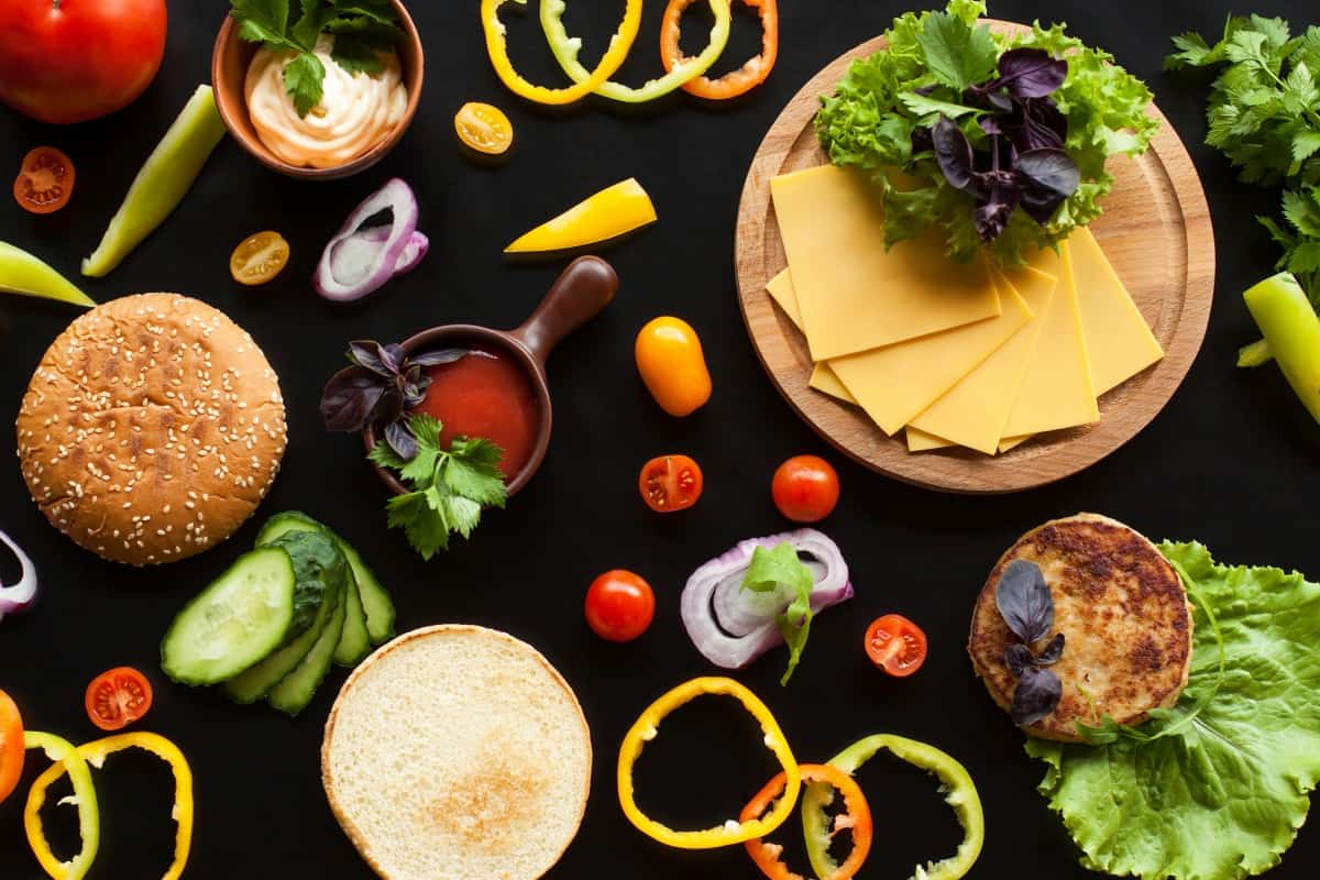 burger toppings and ingredients shot from above