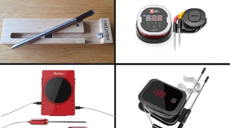 photo montage of 4 bluetooth bbq thermometers