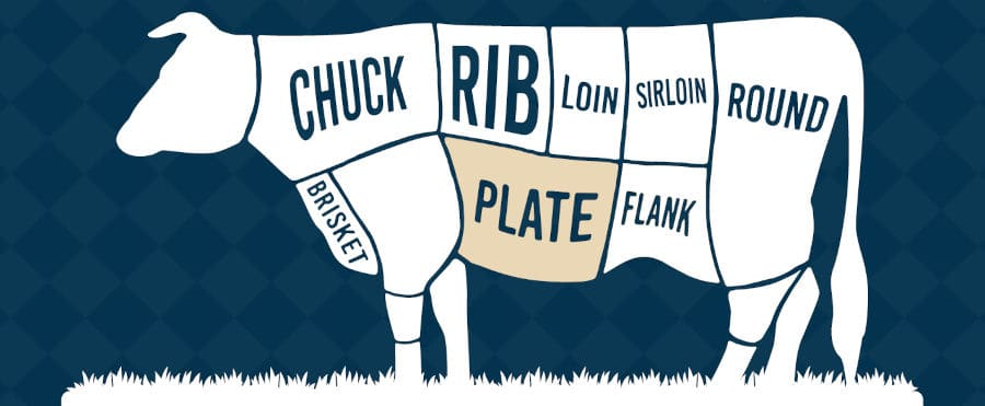 Diagram showing the plate primal on a cow