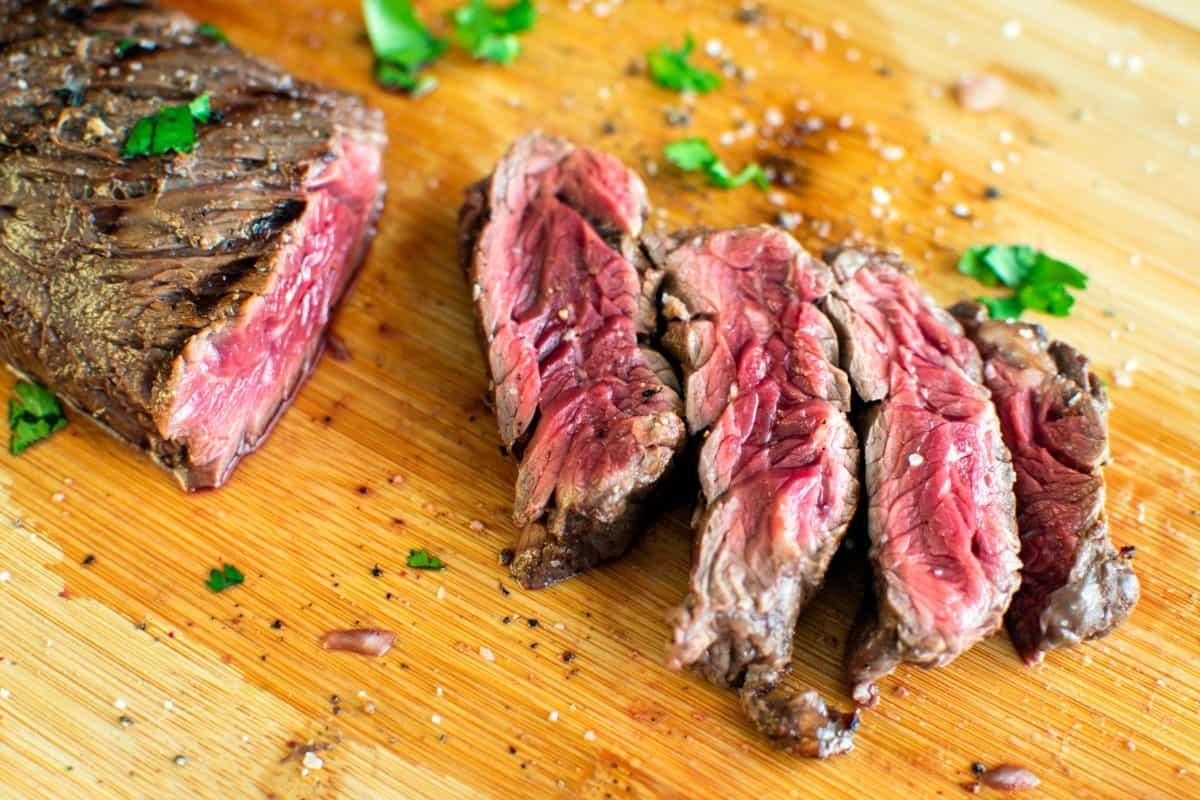 grilled, lime marinated hanger steak with cilantro