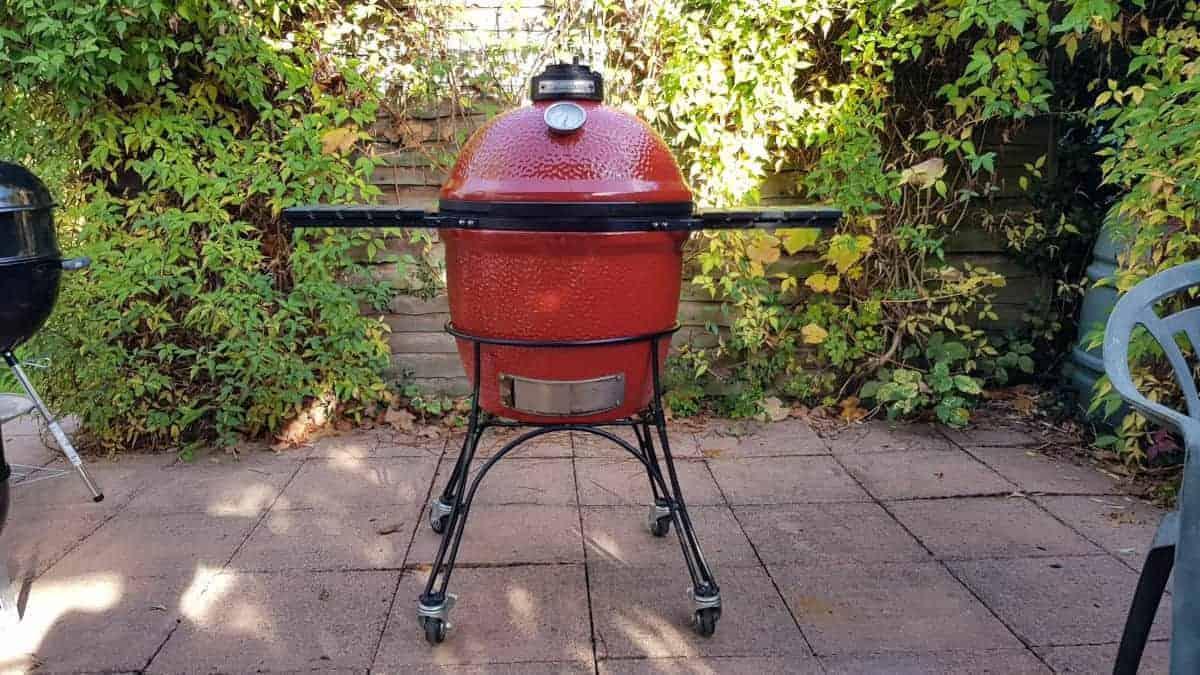 Close up of red Kamado Joe grill and smoker