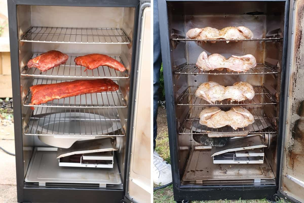 Two photos of masterbuilt electric smoker during cooking ribs and spatchcock chicken
