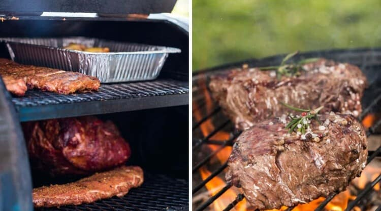 2 photos of smoking and grilling meats, side by side