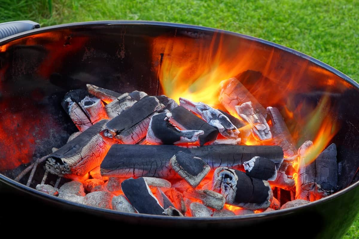 Natural hardwood lump charcoal on fire inside a round grill with grates and lid removed