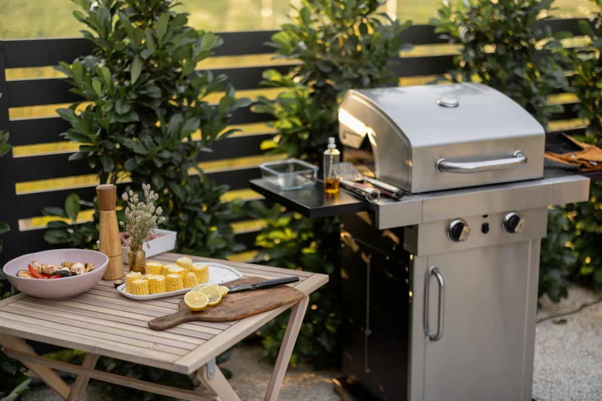 small gas grill with cabinet storage