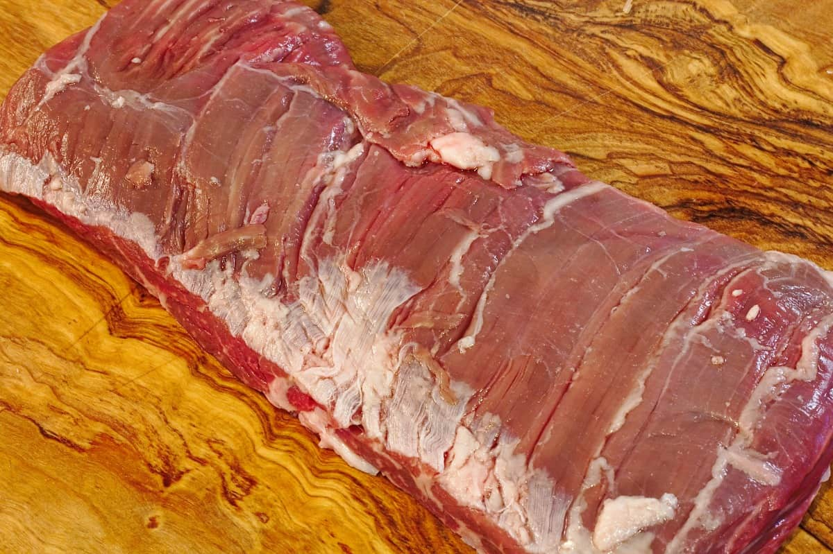 Raw skirt streak on cutting board