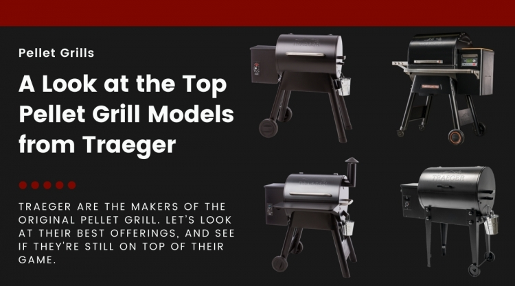 4 different Traeger pellet grills isolated on a black background