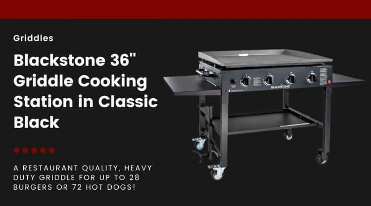 Blackstone griddle isolated on black, next to text describing this is a review post