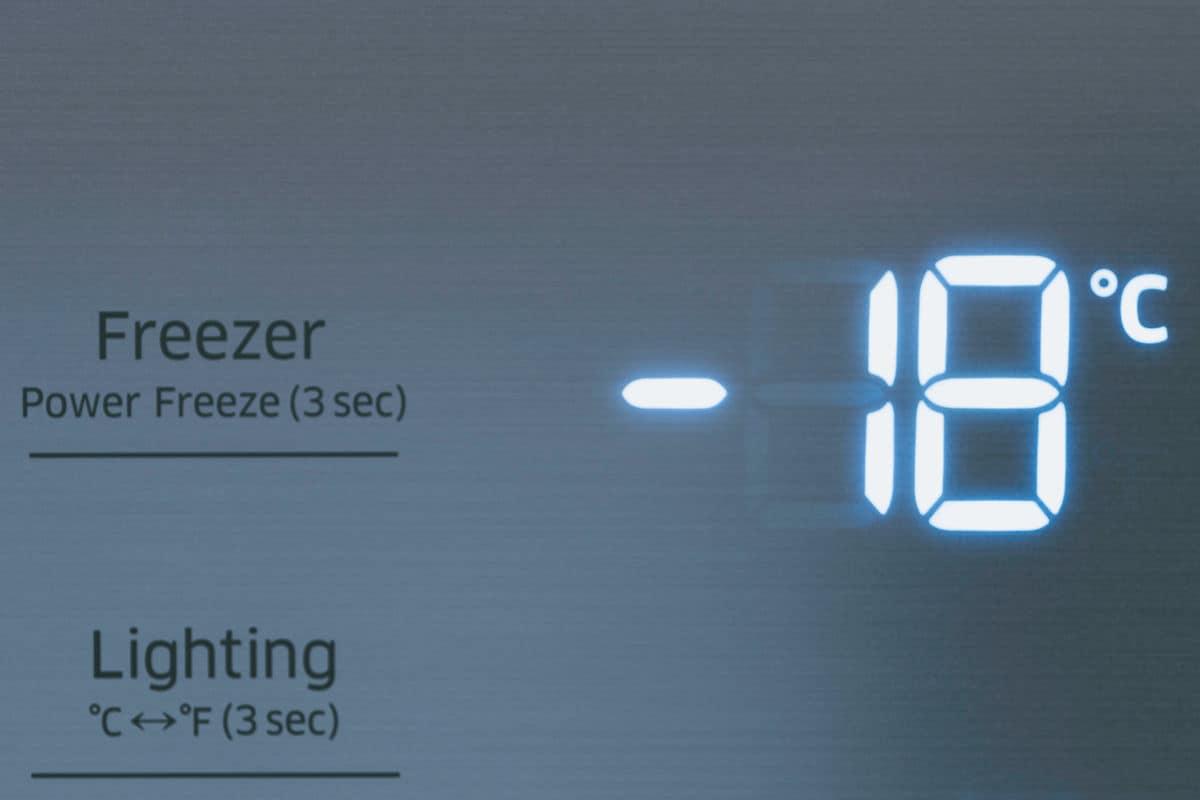freezer temperature digital display showing -18C
