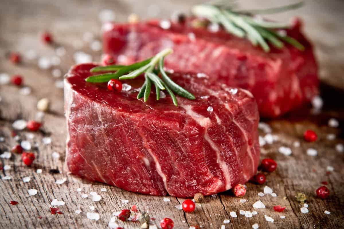marbled beef tenderloin steak with peppercorns and rosemary