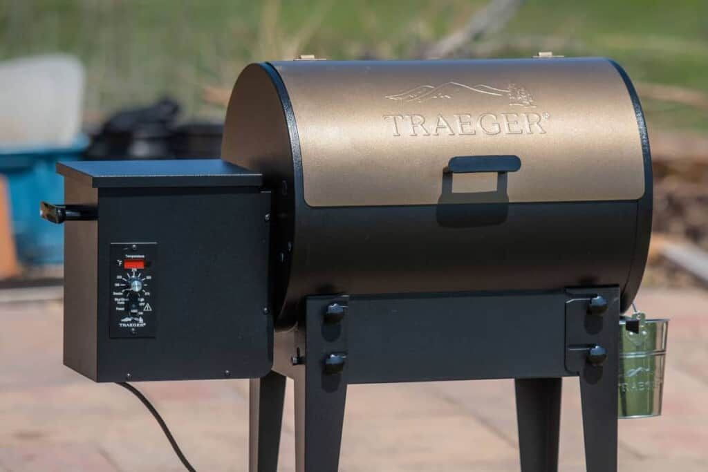 Close up of a bronze colored Traeger pellet grill