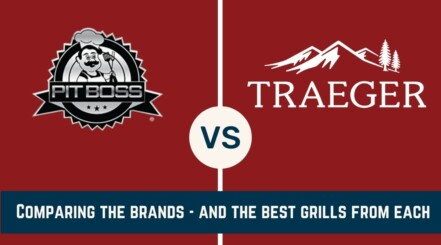 Pit Boss vs Traeger written across a red background, with each of the two companies logos