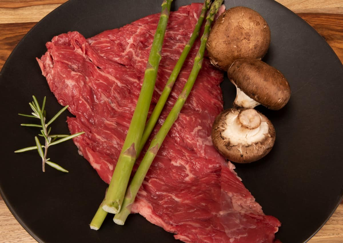raw bavette steak on black plate with raw asparagus and mushrooms