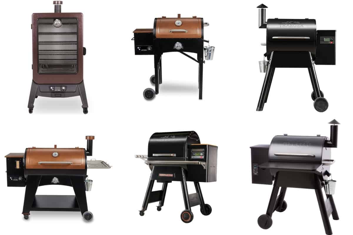 Six pellet grills, 3 each from pit boss and trager, isolated on white
