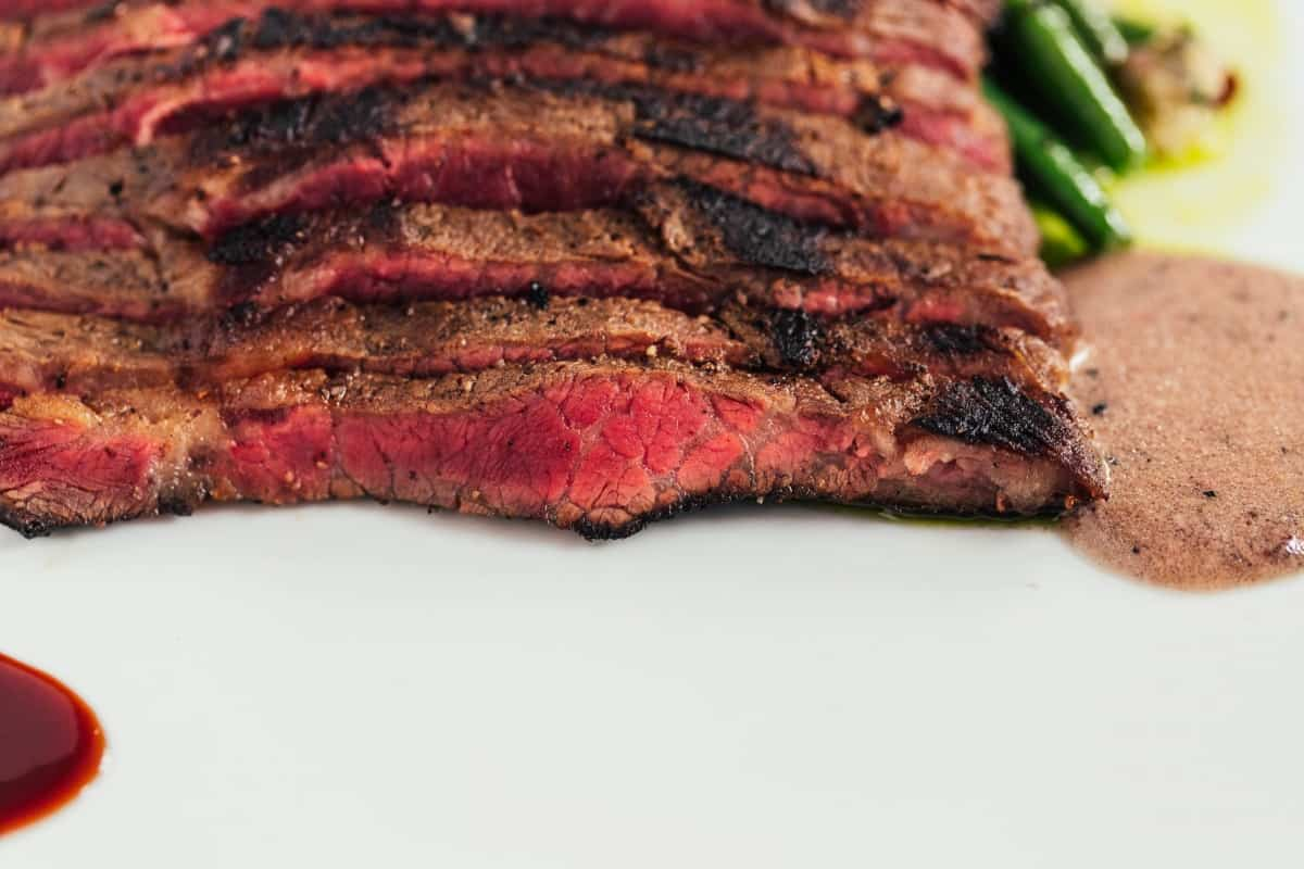Close up of a grilled and sliced wagyu flat iron steak