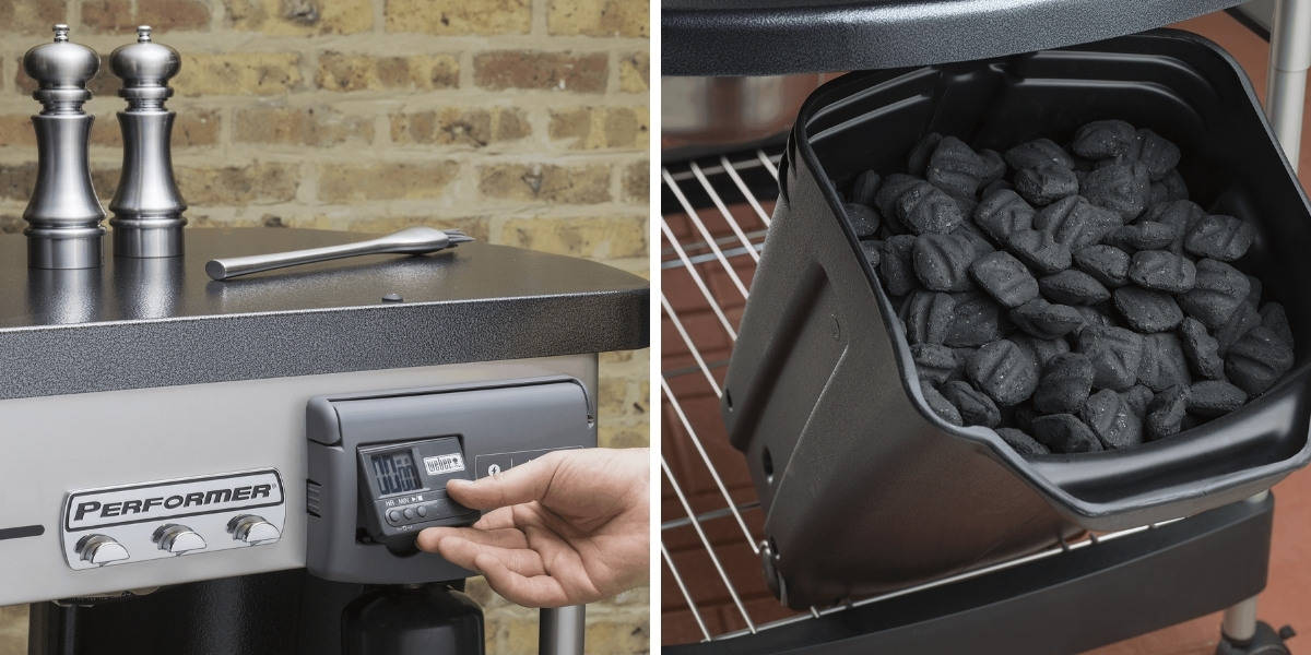 Weber performer controls and charcoal bin photos side by side