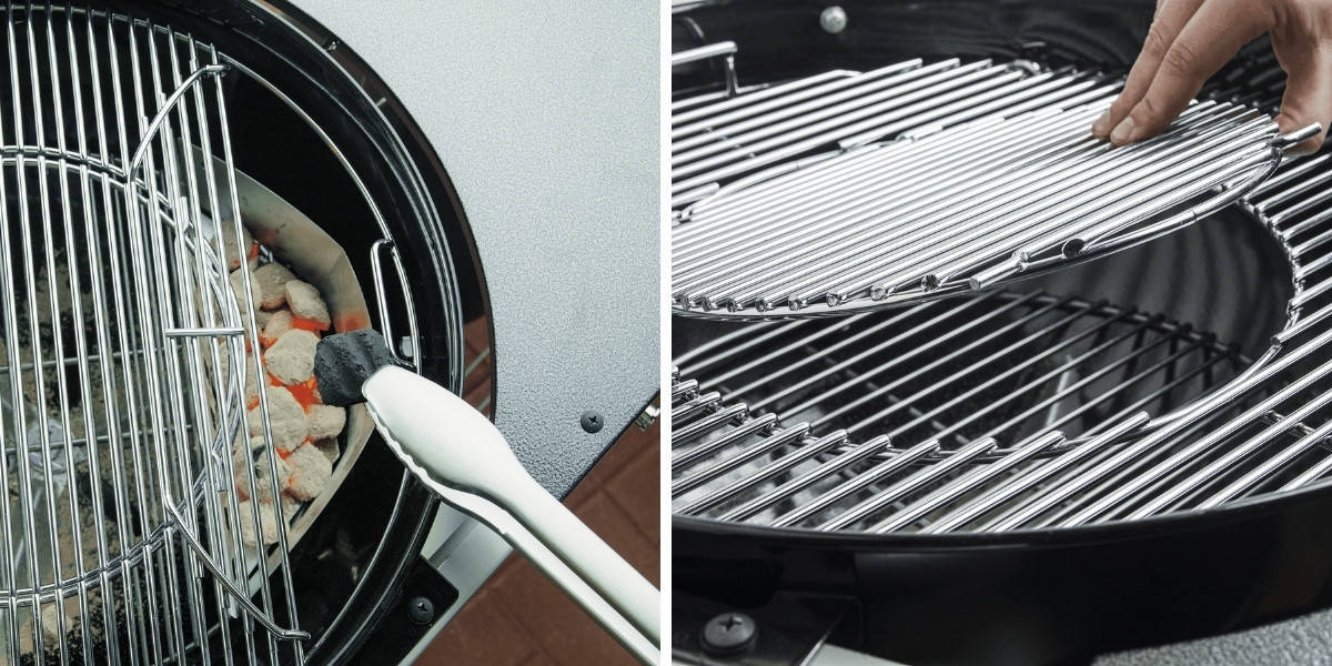 weber performer grate hinged open, and GBS center grate removed