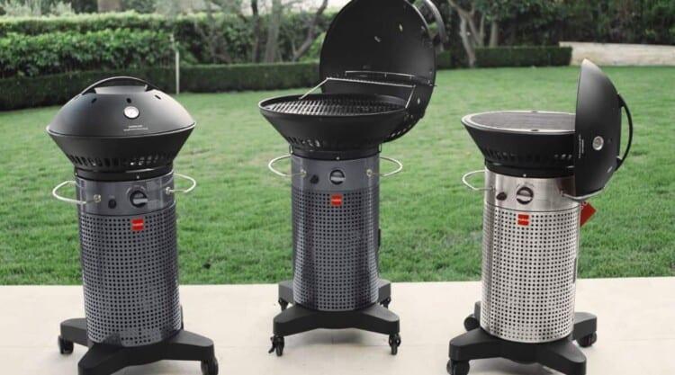 Three fuego professional grills side by side