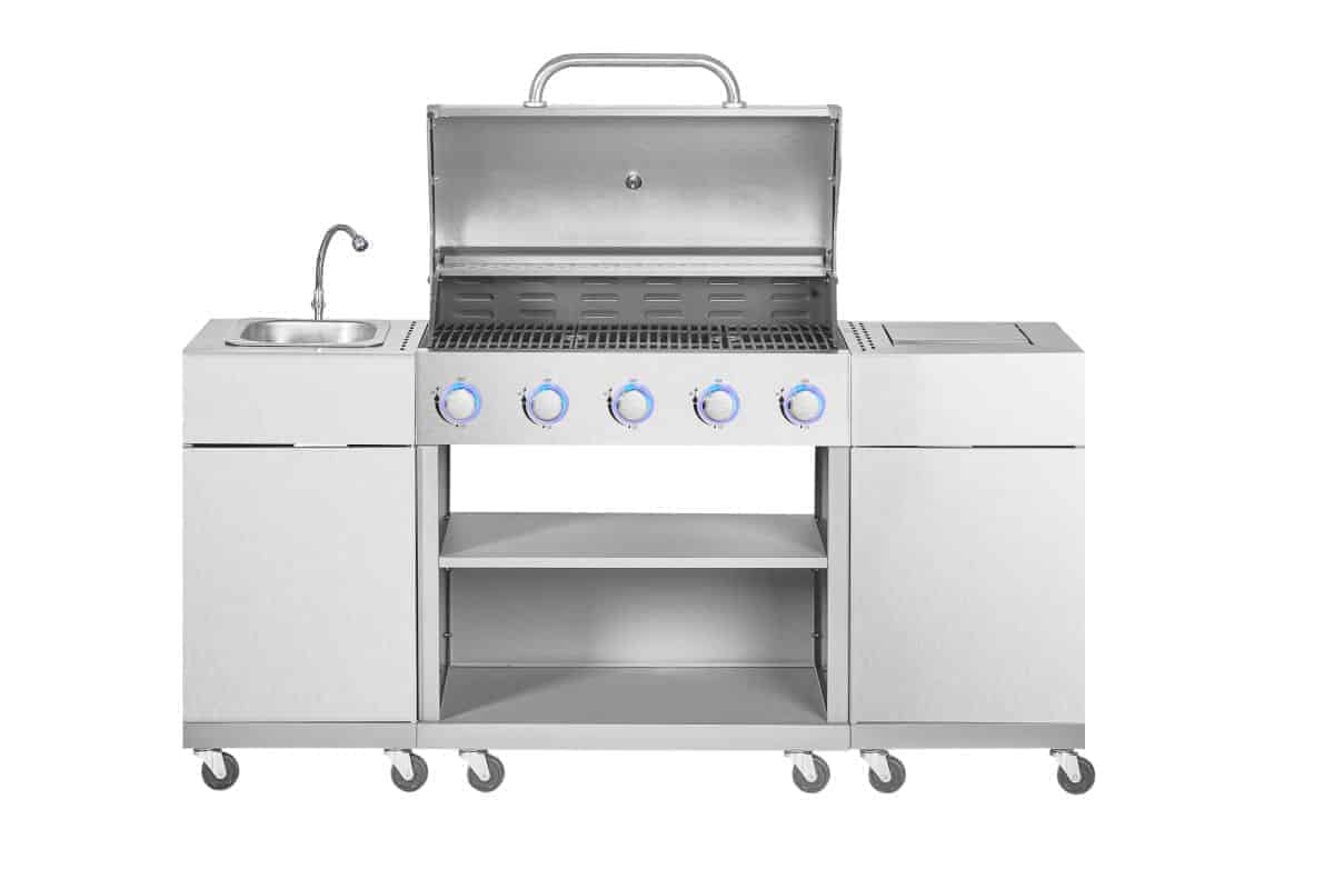 gas grill with sink isolated on white