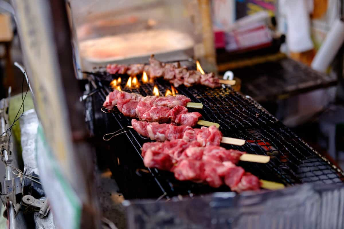kebabs on a hibachi grill