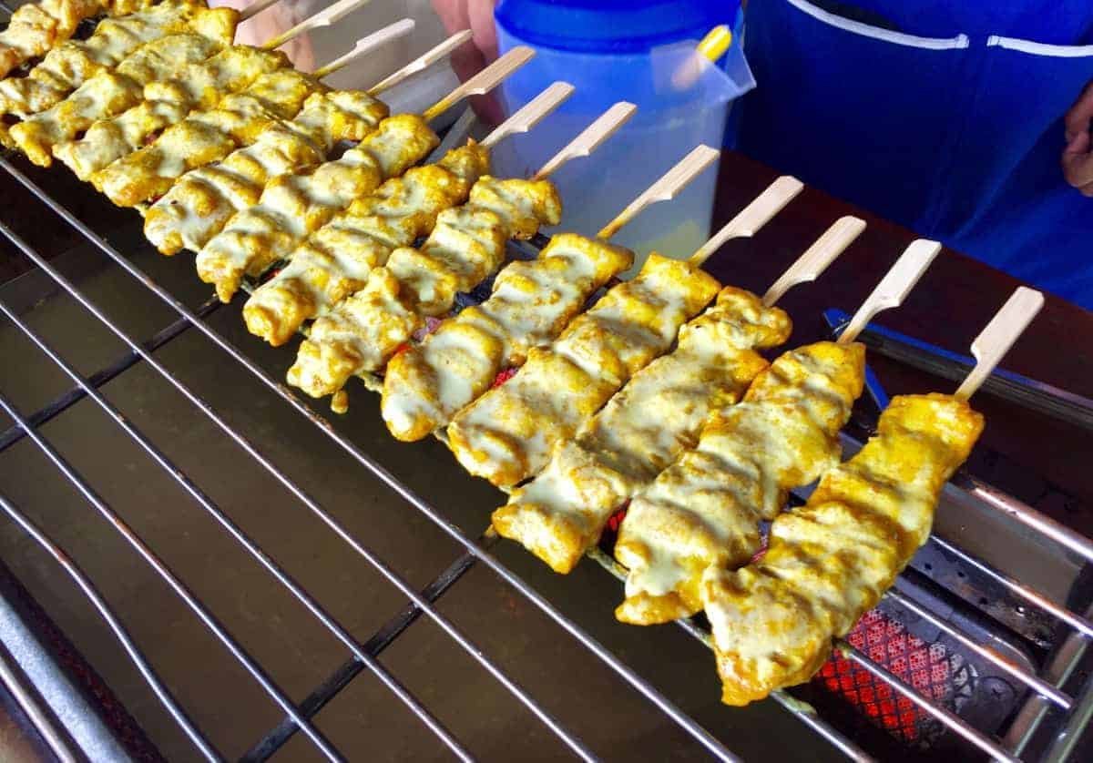 satay pork on an infrared grill
