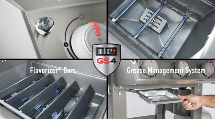 a 4 photo montage of weber spirit ii grill features