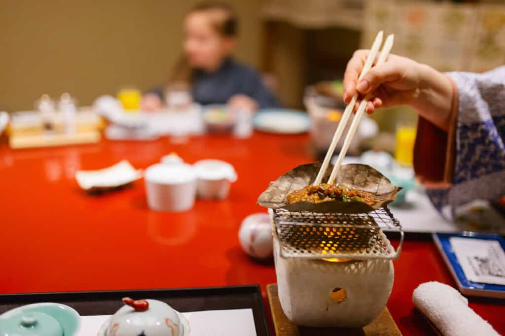 An hibachi grill in a Japanese restaurant