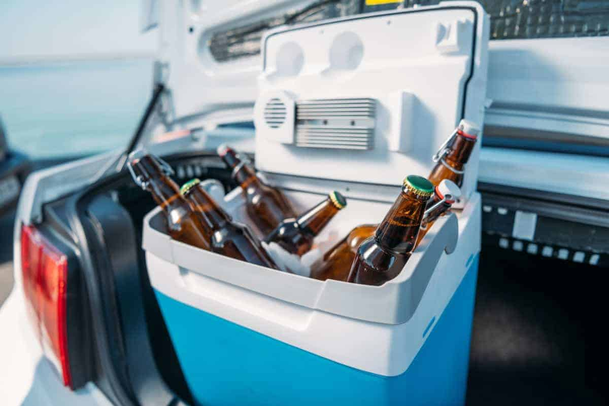 Beer in a drinks cooler in a car trunk