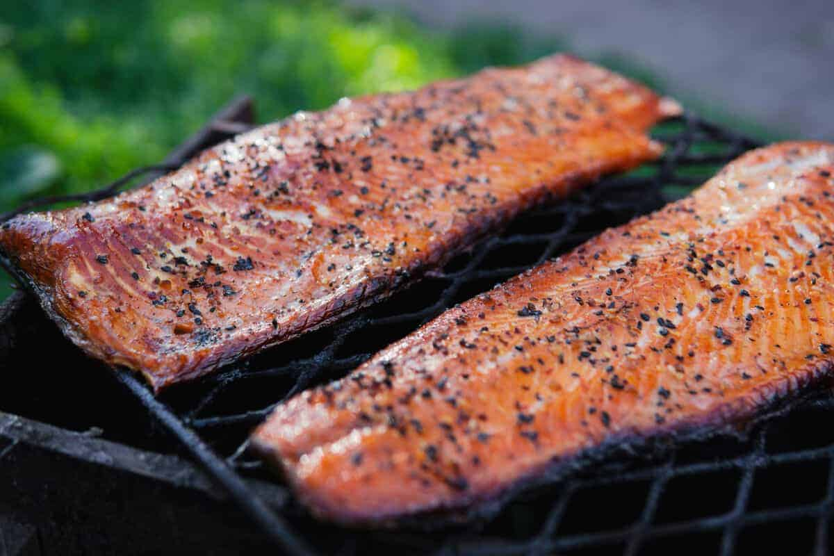 two hot smoked salmon filets