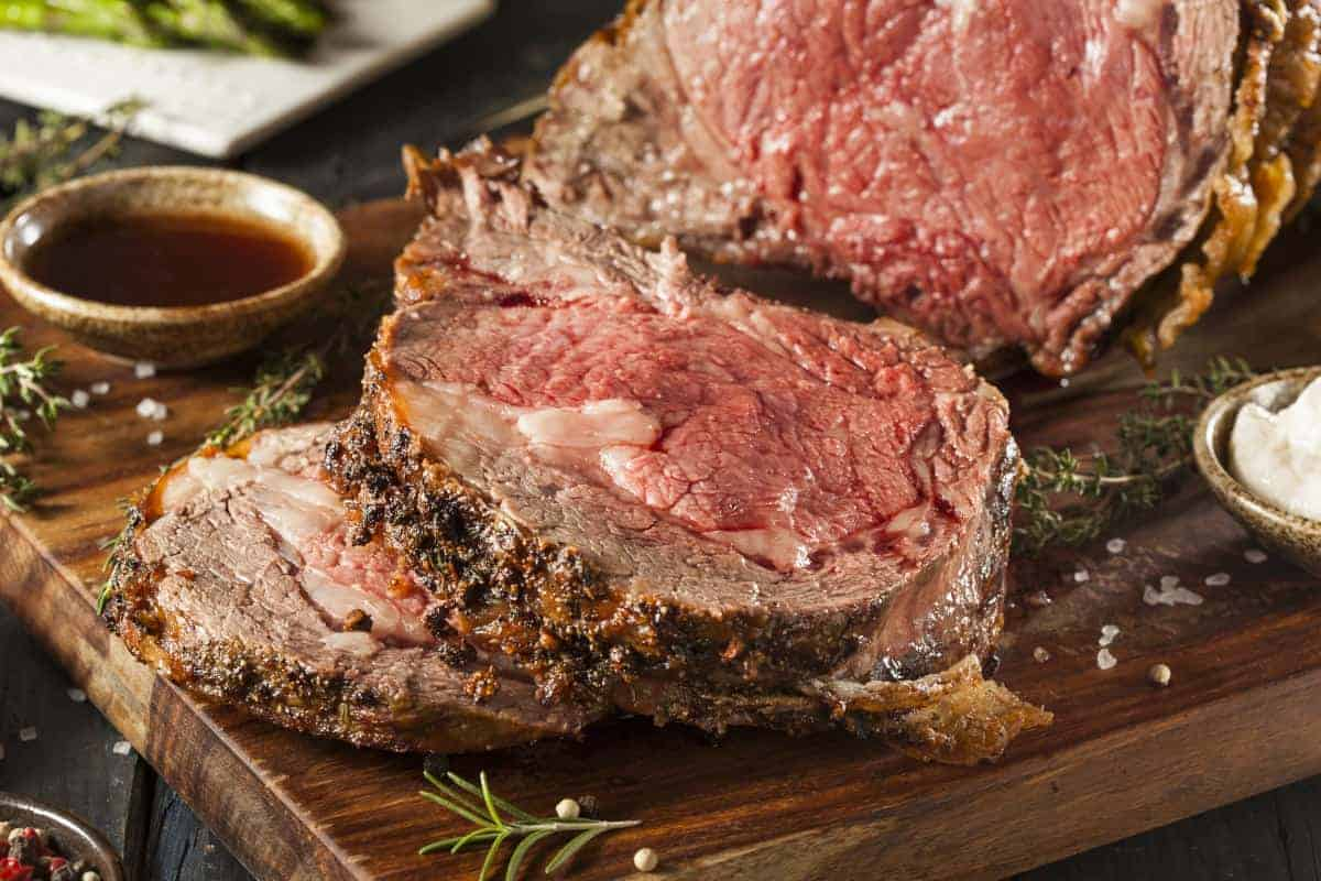 A smoked and sliced, still pink prime rib with a gorgeous crust