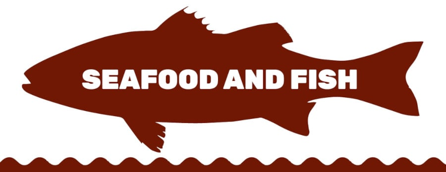 graphic of seafood and fish written inside a silhouette of a fish