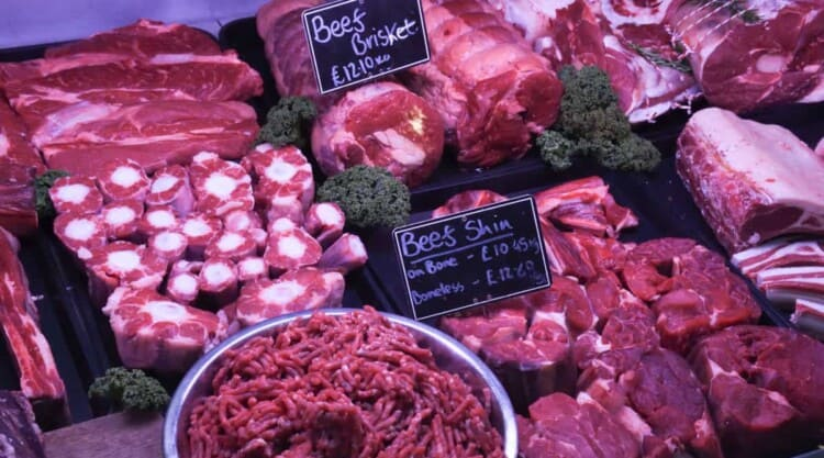 Cuts of a beef in a butchers
