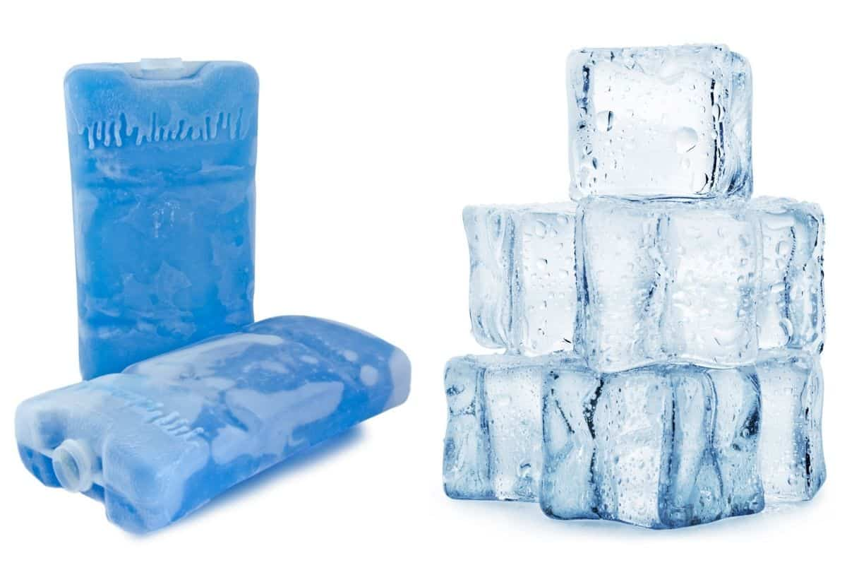 Two ice packs next to a small stack of ice cubes, isolated on white