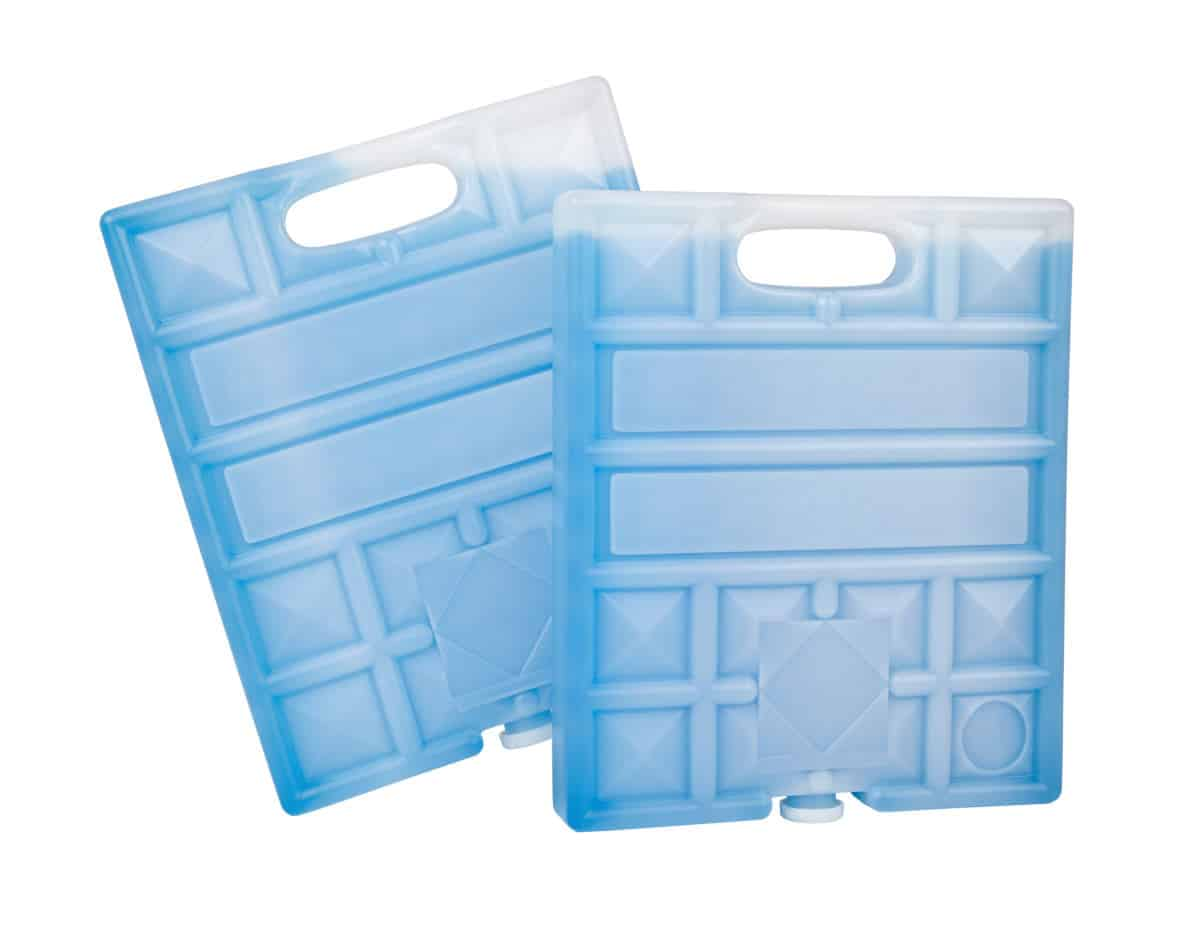 Two blue, reusable ice packs with solid handles, isolated on white