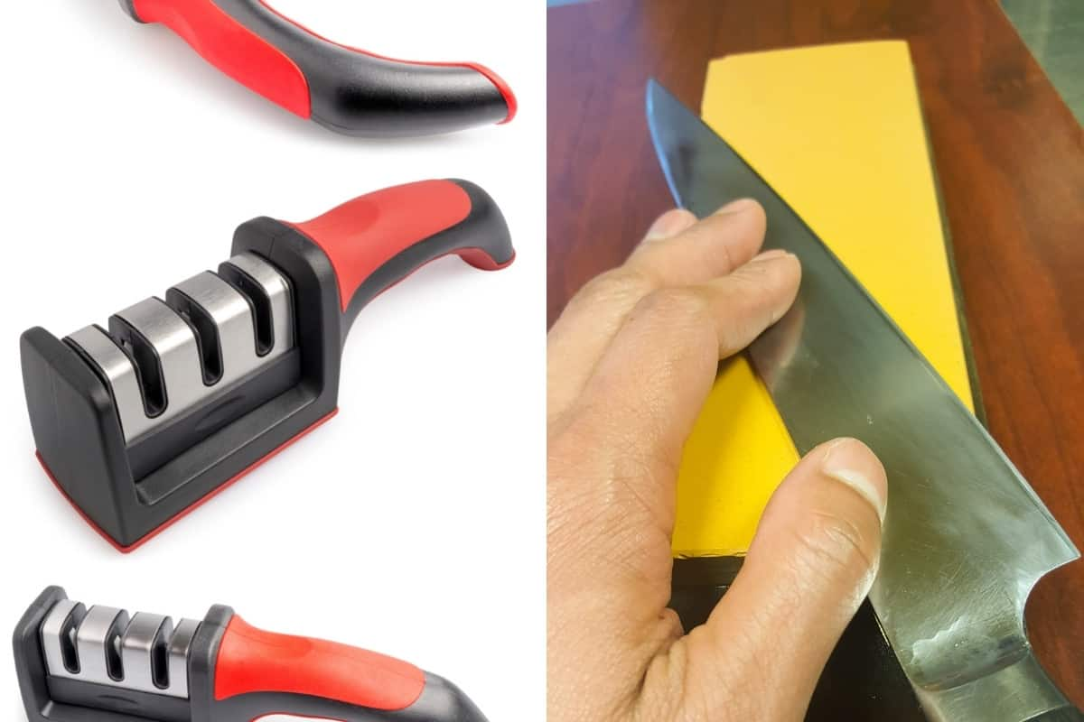 Two photos side by side, one each of a pull through sharpener isolated on white, and a whetstone being used on a knife