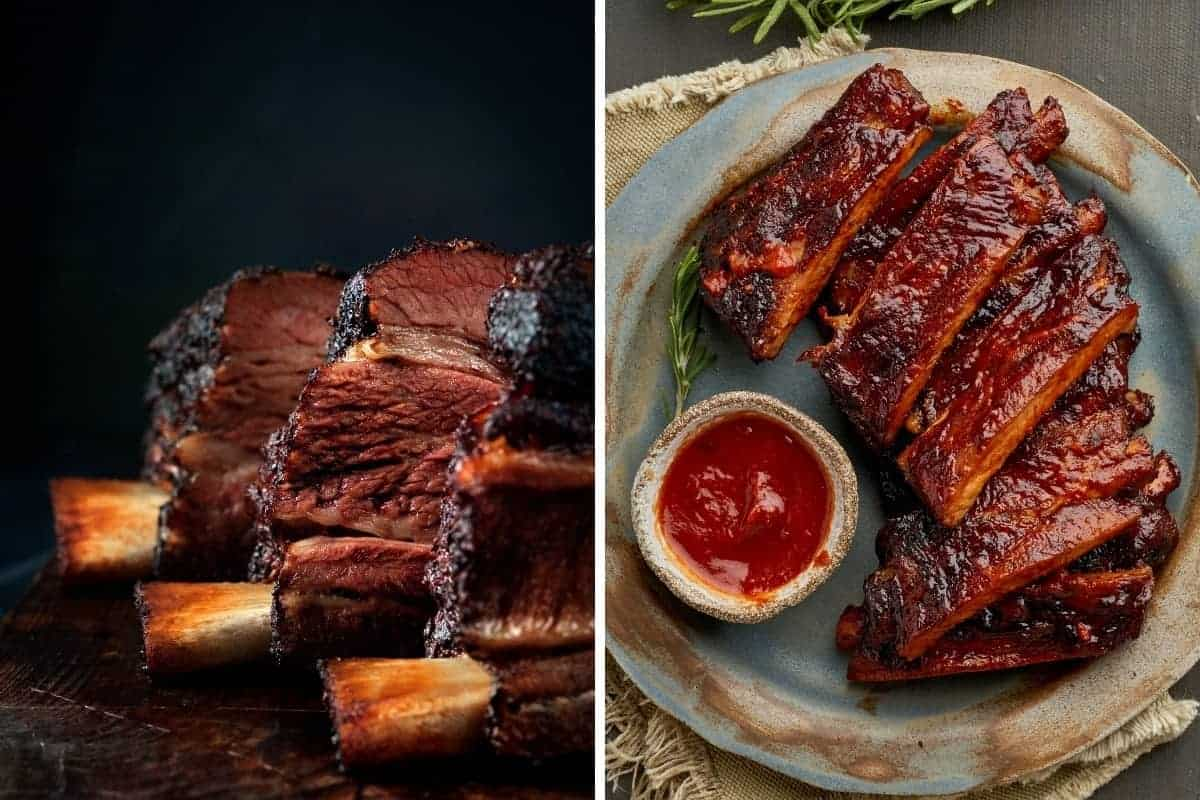 Smoked beef ribs and smoked pork ribs in two photos side by side