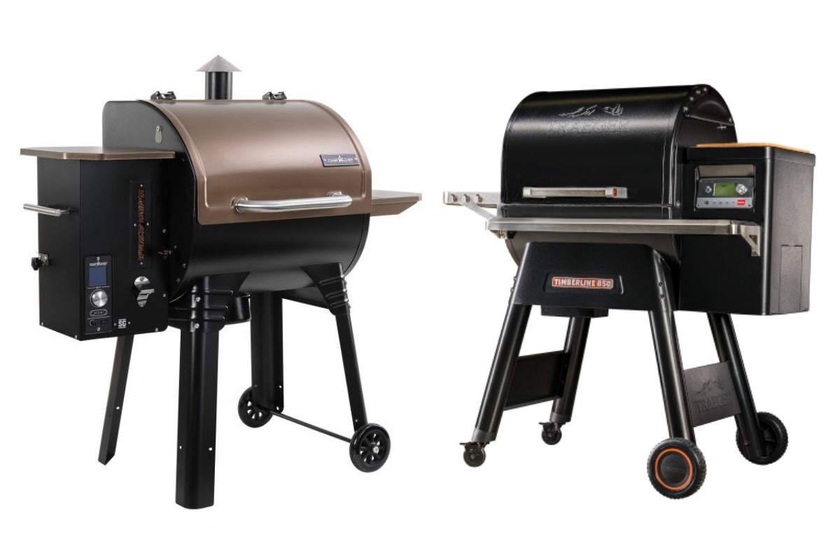 camp chef and traeger pellet grills next to each other, isolated on white
