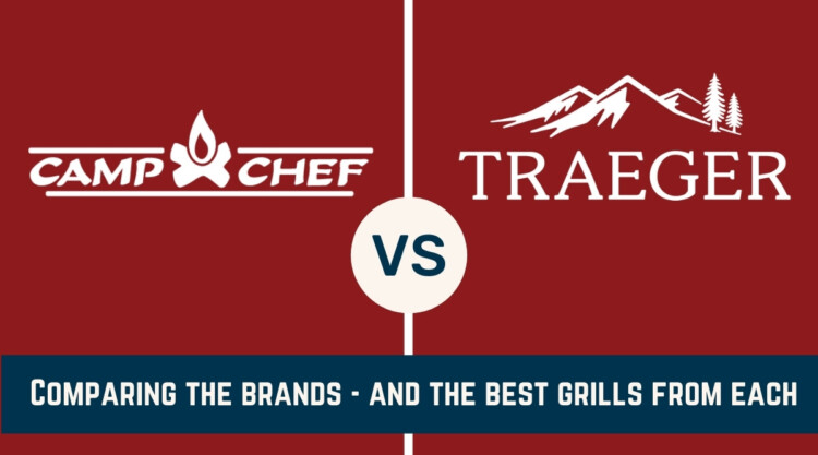 camp chef vs traeger written under an image of their two logos on a red background