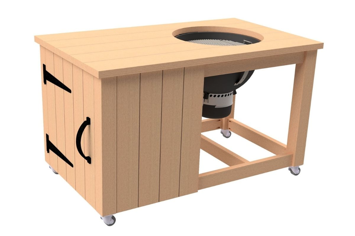 Weber kettle grill mounted in the grill cart from these plans