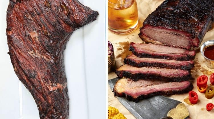 Photos of smoked or grilled tri tip and brisket side by side