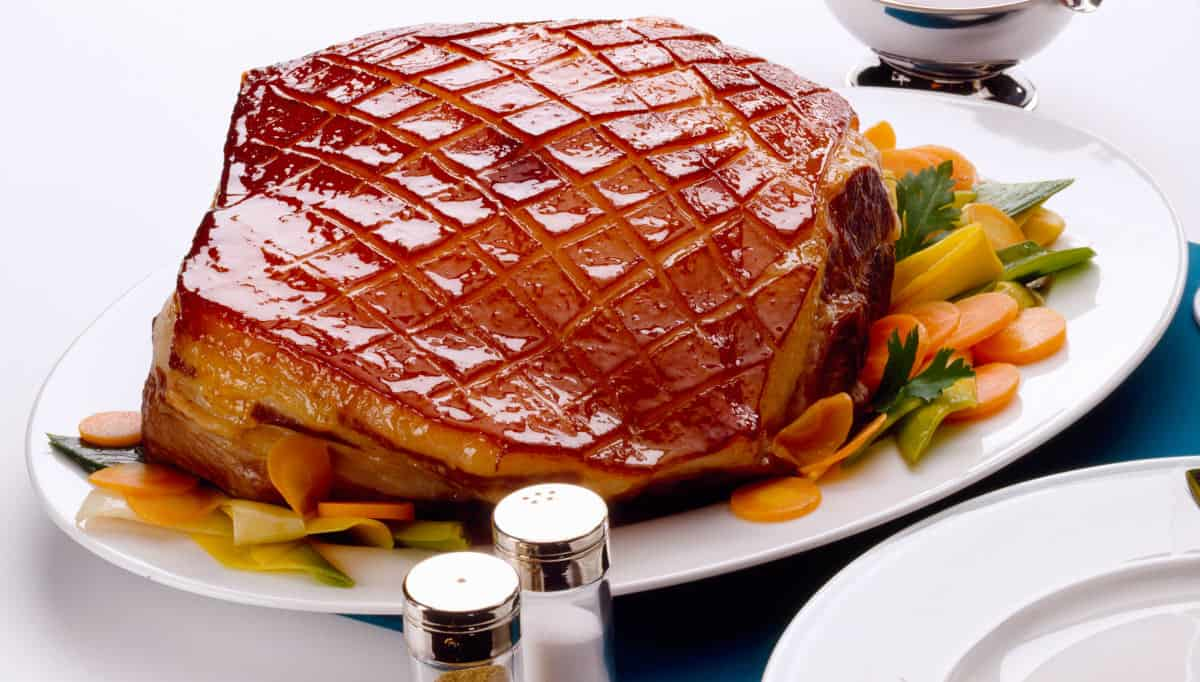 Roasted pork, with skin scored into diamonds but NOT looking crispy