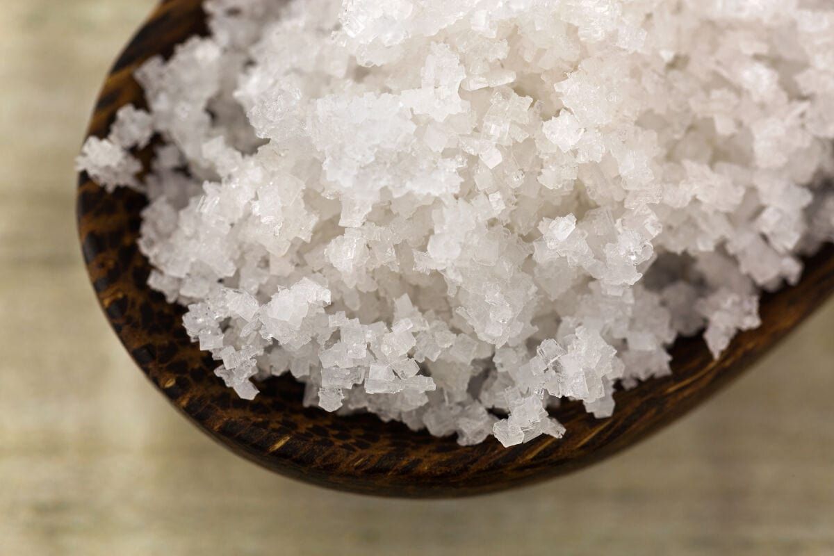 A close up of some Fleur Se Sel salt on a wooden spoon