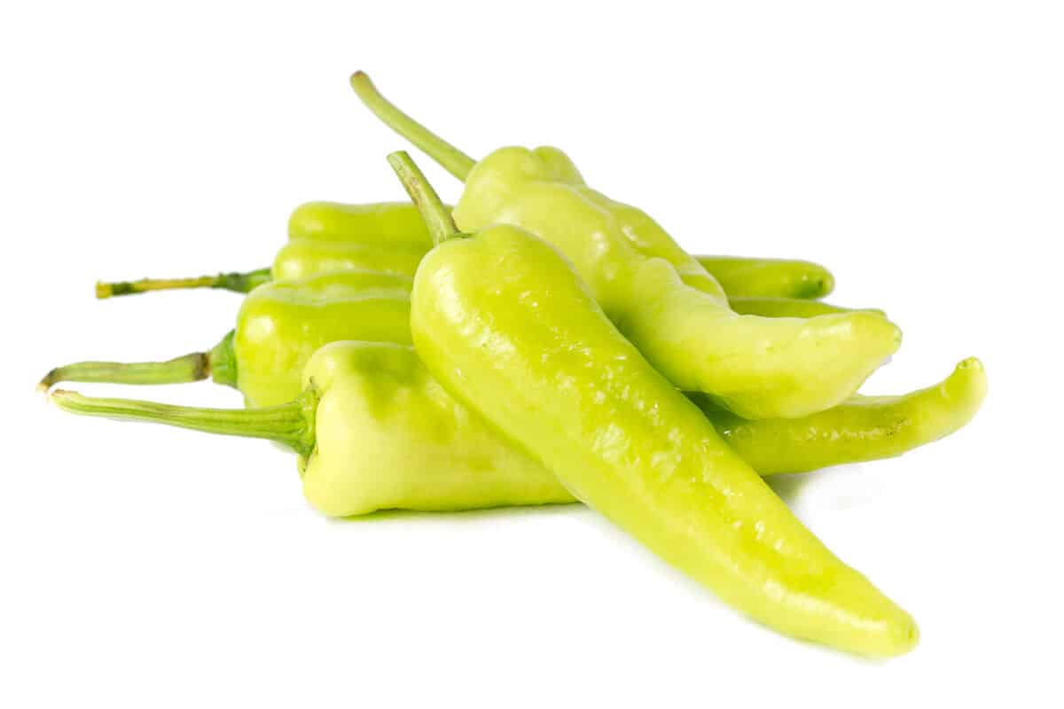 A pile of banana peppers isolated on white