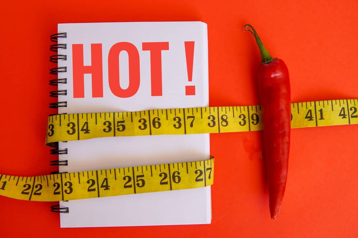 A pepper next to a notebook saying HOT, and a tape measure across the image